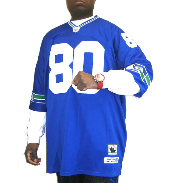 SEATTLE SEAHAWKS replica シアトルシーホックスフットボールシャツ フットボールジャージ ヒップホップ衣装 ダンス 衣装 #80【STEVE LARGENT】半袖Tシャツ