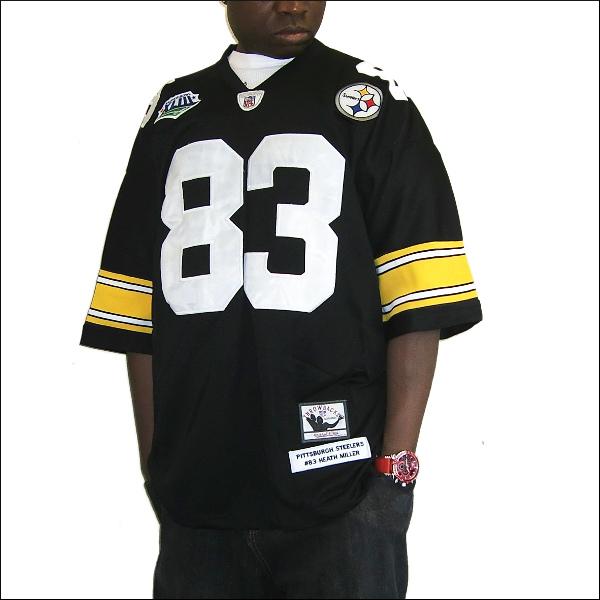 PITTSBURGH STEELERS (ピツボースティラース) replica  フットボールシャツ #83【HEATH MILLER】nfl グッズ フットボールジャージ ゲームシャツ 大きいサイズメンズ メンズ大きいTシャツ ヒップホップ衣装 ダンス 衣装 ジャージ