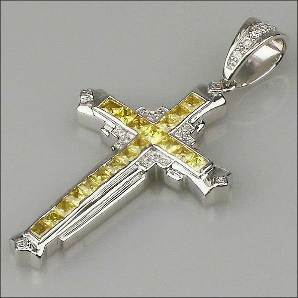 クロス (十字架) 925シルバー ペンダント ヒップホップペンダント シルバー925 ジルコニアペンダント