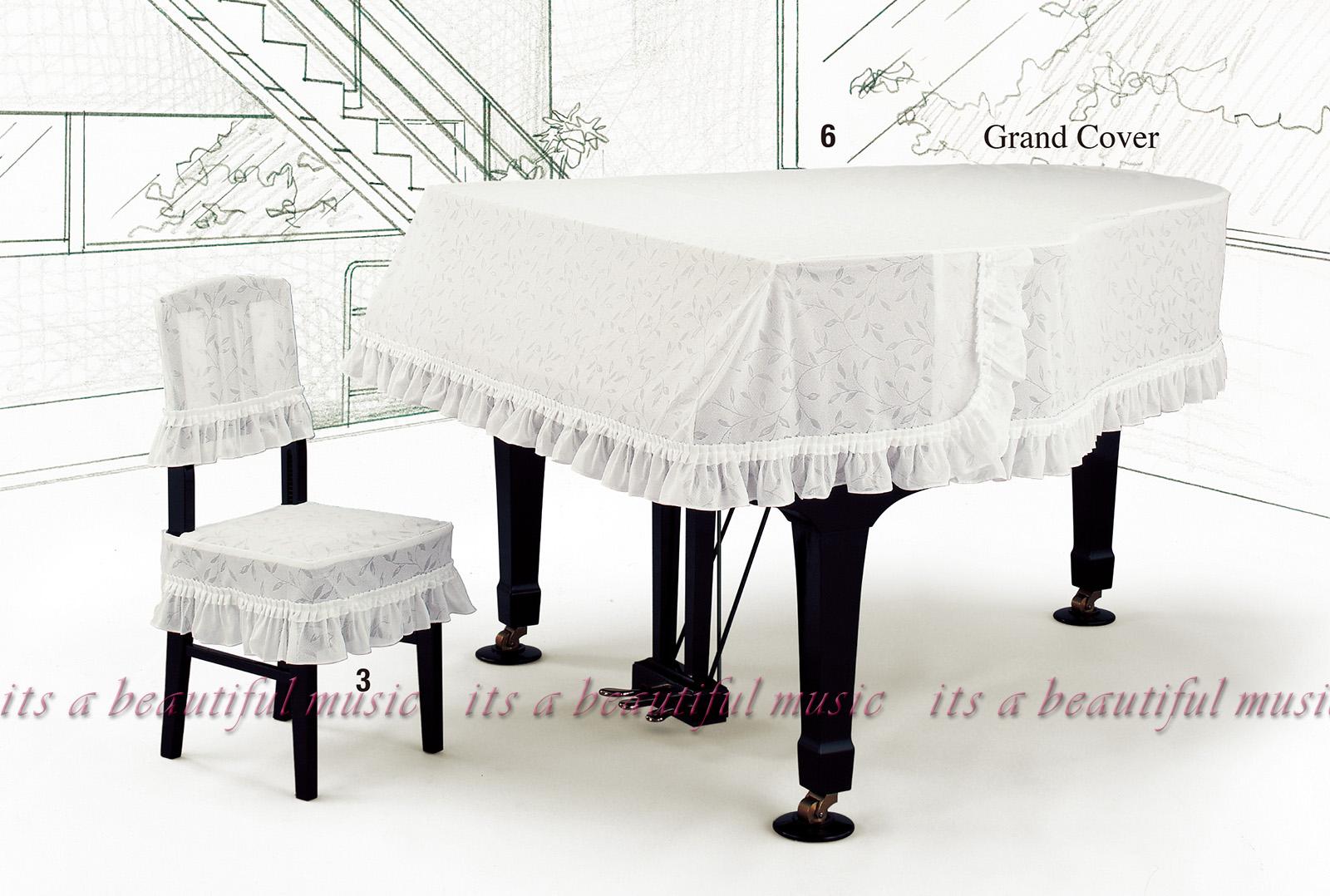 【its】レビューでもれなく高級クロス同梱!グランドピアノカバー アルプスG-BL「リーフ柄ジャガードレース」【奥行150~160cm未満/A1/GB1K/GM12/G-156等】(アルプスBLシリーズ)