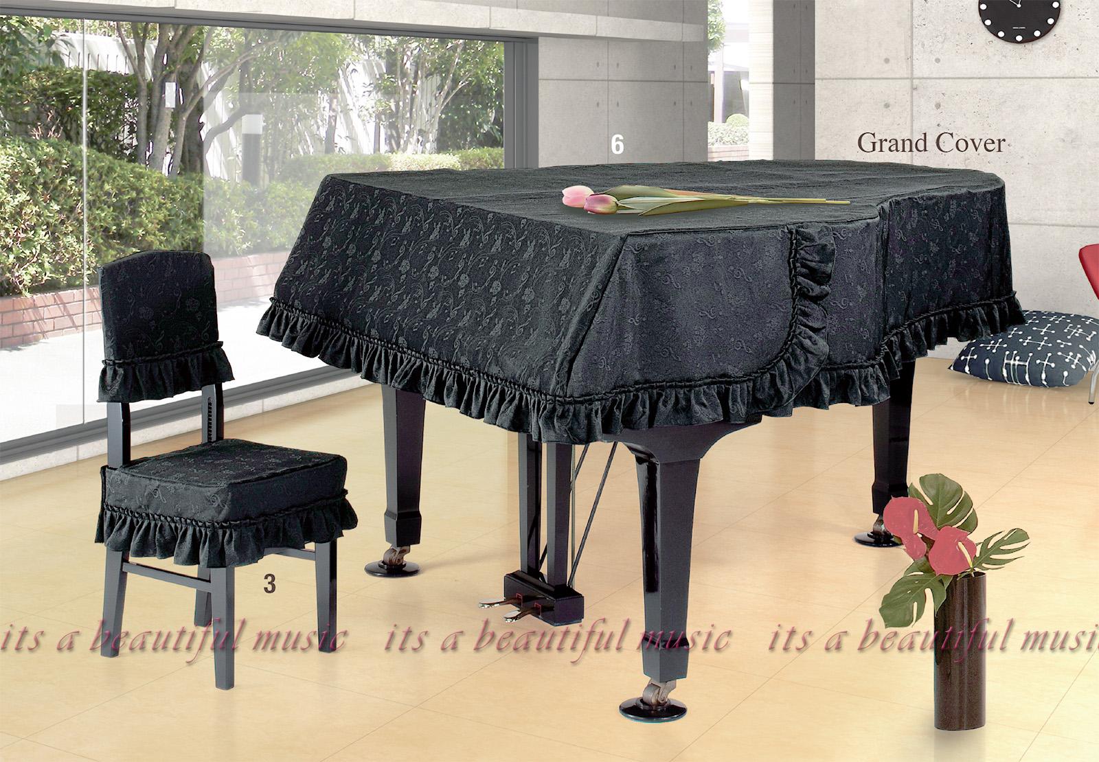 【its】レビューでもれなく高級クロス同梱!グランドピアノカバー アルプスG-MK「ワッシャー加工素材に音符と花の柄」【奥行150~160cm未満/A1/GB1K/GM12/G-156等】(アルプスMKシリーズ)
