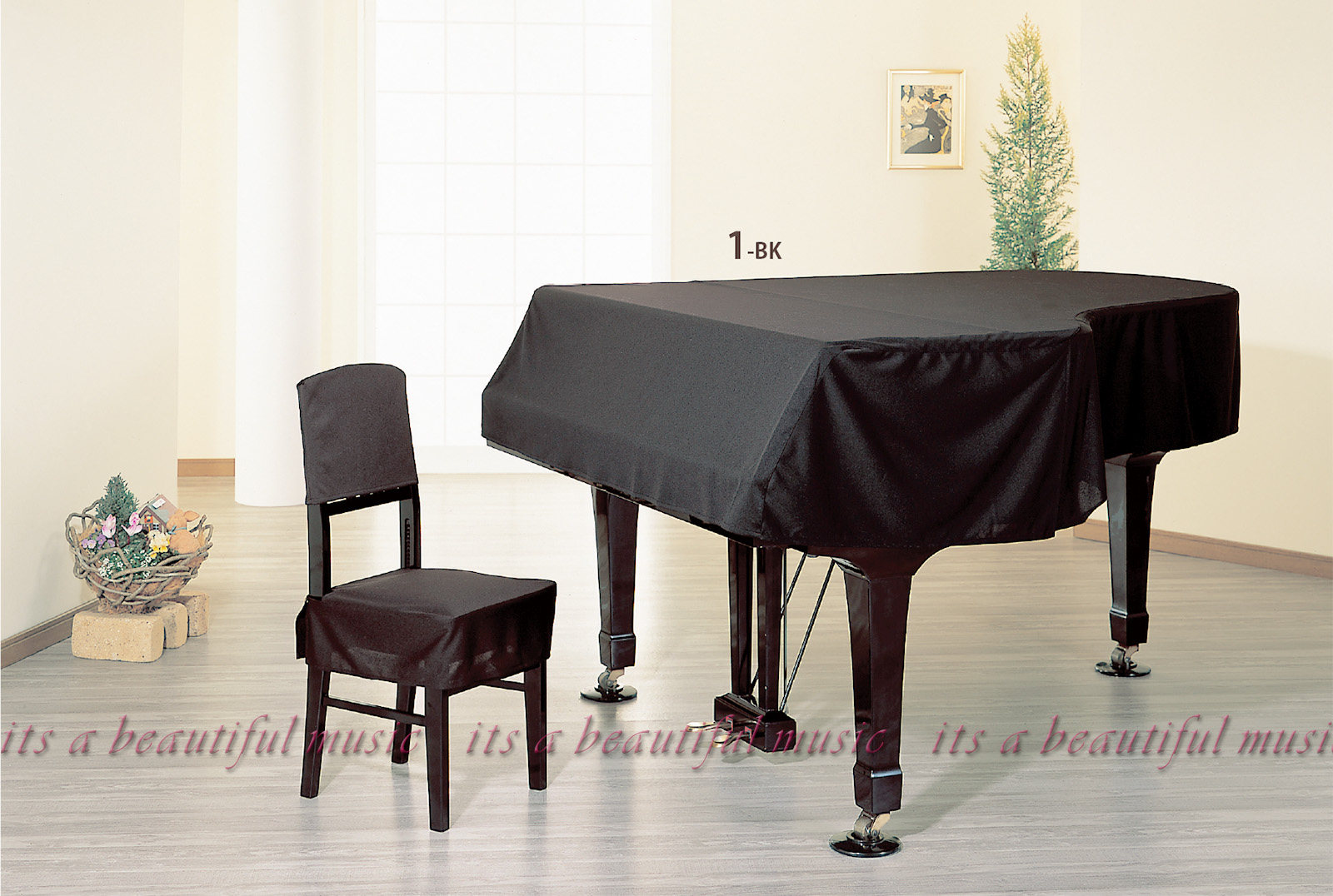 【its】レビューでもれなく高級クロス同梱!グランドピアノカバー アルプスG-UX-BK「シンプルなニット無地」【奥行150~160cm未満/A1/GB1K/GM12/G-156等】(アルプスUX-BKシリーズ)