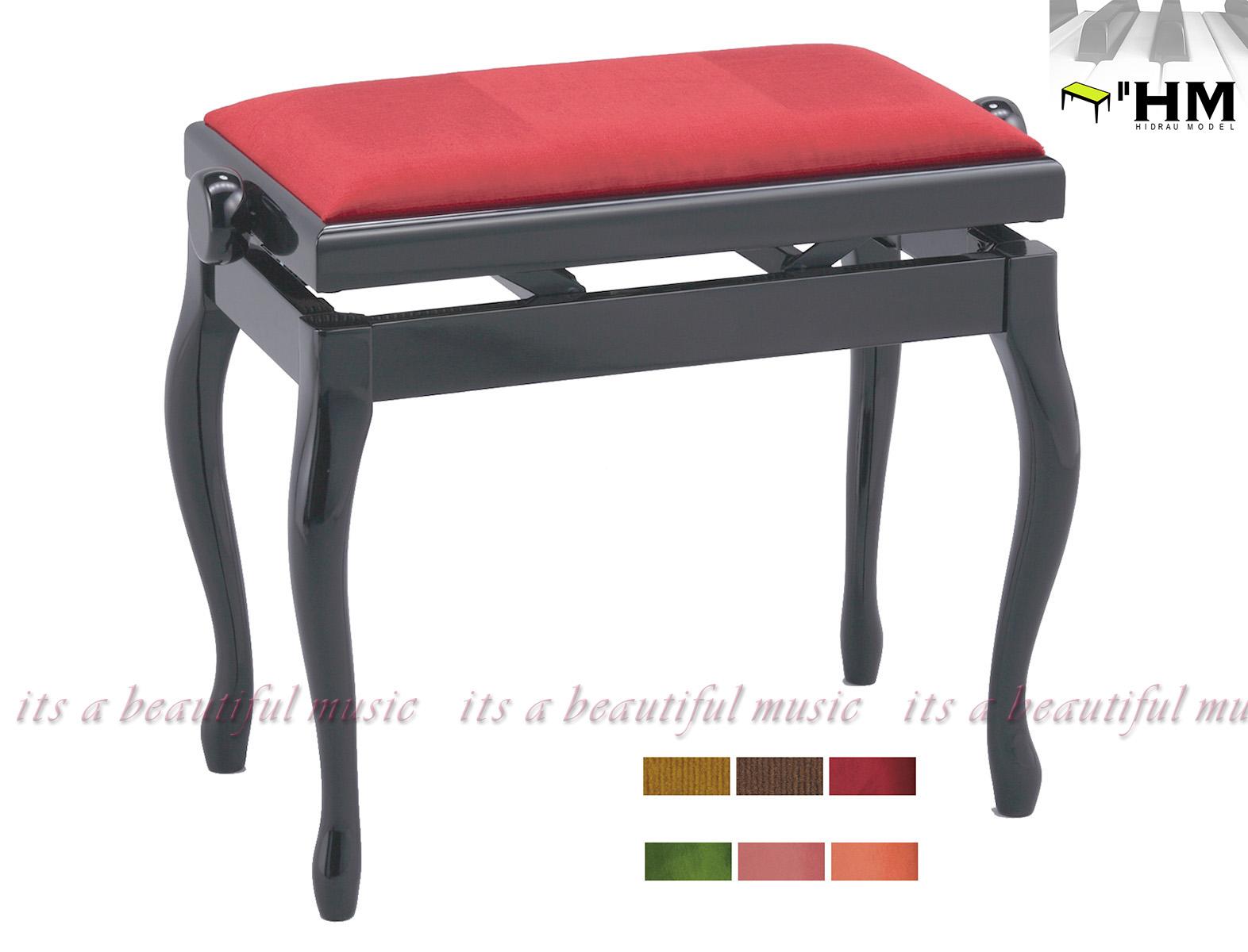 【its】スペイン/HIDRAU社 高級輸入ピアノ椅子 BG-2(黒塗り)※座面が6色から選べます!