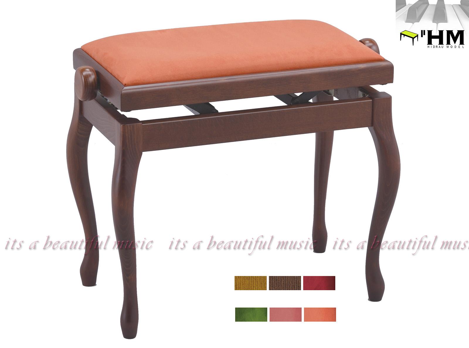 【its】スペイン/HIDRAU社 高級輸入ピアノ椅子 BG-2(艶消しウォルナット調)※座面が6色から選べます!