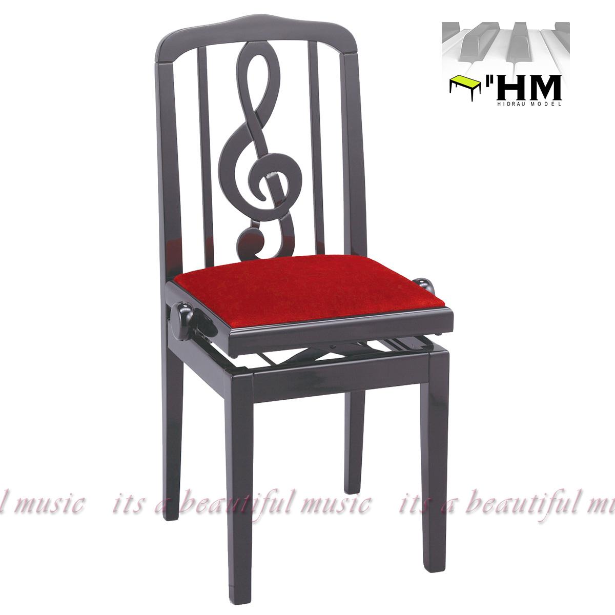 """【its】スペイン/HIDRAU社 """"お洒落なト音記号の""""背もたれ式 高級輸入ピアノ椅子 SG-40(黒)"""