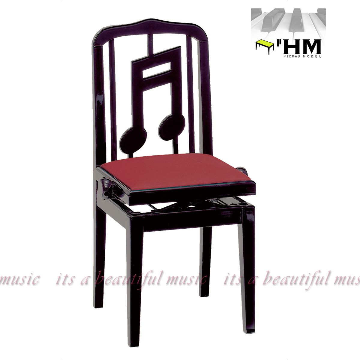"""【its】スペイン/HIDRAU社 """"お洒落な音符デザインの""""背もたれ椅子 高級輸入ピアノ椅子 SG-40(黒)"""
