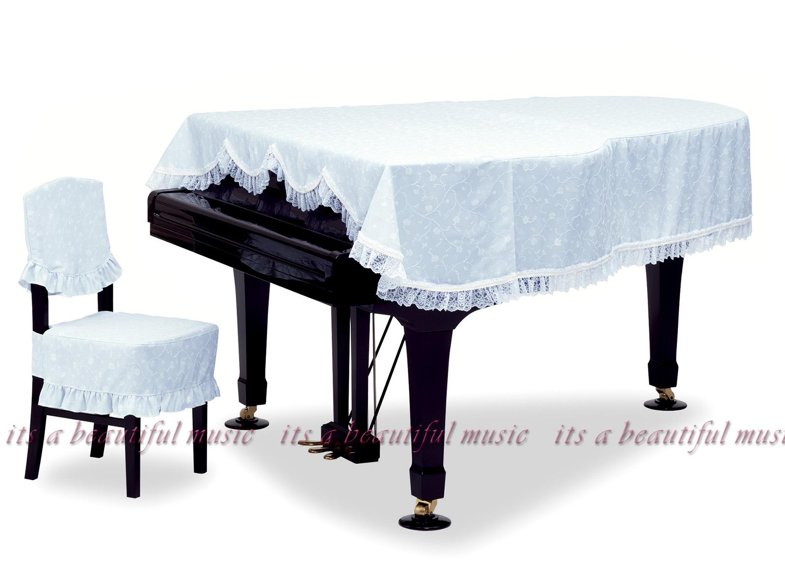 【its】レビューでもれなく高級クロス同梱!グランドピアノカバー 吉澤GP-572FB「爽やかな空色に小花と音符柄」【奥行150~160cm未満/A1/GB1K/GM12/G-156等】(ヨシザワ572FBシリーズ)