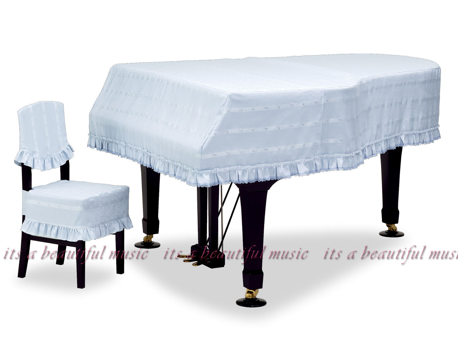 【its】レビューでもれなく高級クロス同梱!グランドピアノカバー 吉澤GP-579SB「清涼感あるブルーに音符柄ストライプ」【奥行150~160cm未満/A1/GB1K/GM12/G-156等】(ヨシザワ579SBシリーズ)