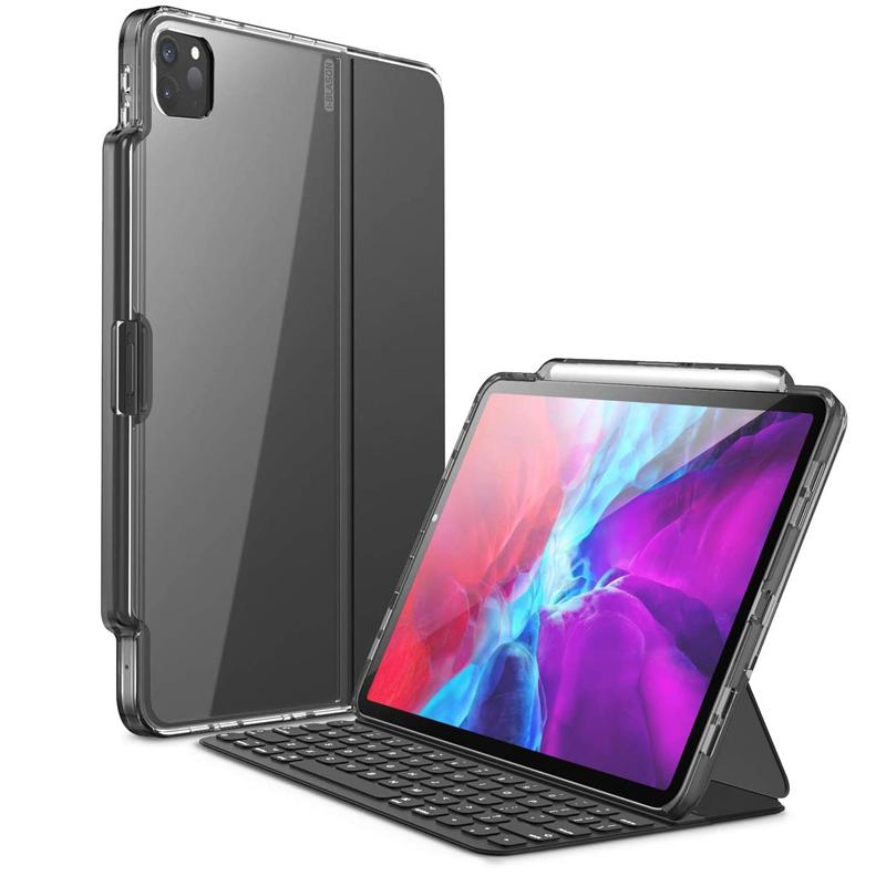 海外限定 i-Blason iPadPro 11.0 12.9 インチ ケース 第2世代 2020 発売 2020発売 Keyboard 公式Smart 第4世代 Folio併用 背面クリアカバー 大人気 黒 保護ケース