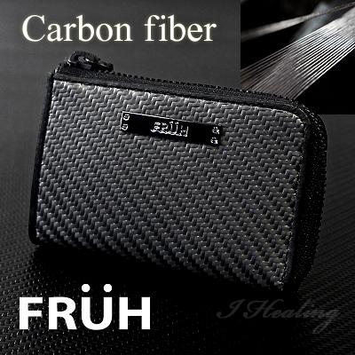 FRUHリアルカーボン ファスナー キーケース 黒 フリューGL028 メンズ 日本製