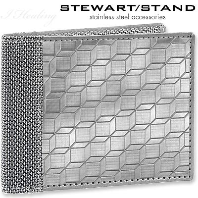 二つ折り財布 スチュワート スタンド カード入れ×8 札入れ×1 激安通販 売店 スチュワートスタンド 二つ折りステンレス財布 3D柄 STAND STEWART BF3401-SVR