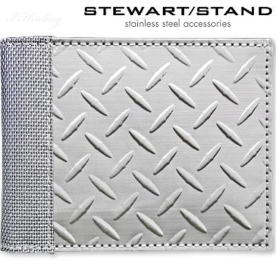 スチュワートスタンド 二つ折りステンレス財布 ダイヤモンド柄 STEWART STAND BF3701-SVR【送料無料】【SP】