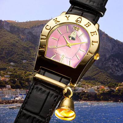 ラッキーベルウオッチ 幸運の鈴ピンク イタリア腕時計