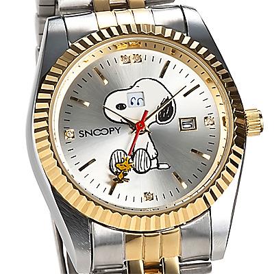 スヌーピー チャーミングアイ腕時計コンビ 天然ダイヤSNOOPYウオッチ