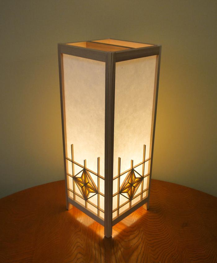 ADTP-1535 角行灯「匠」 Lサイズ 楮和紙 無地きなり 朝顔組子 染和紙デザイン(黄土色)