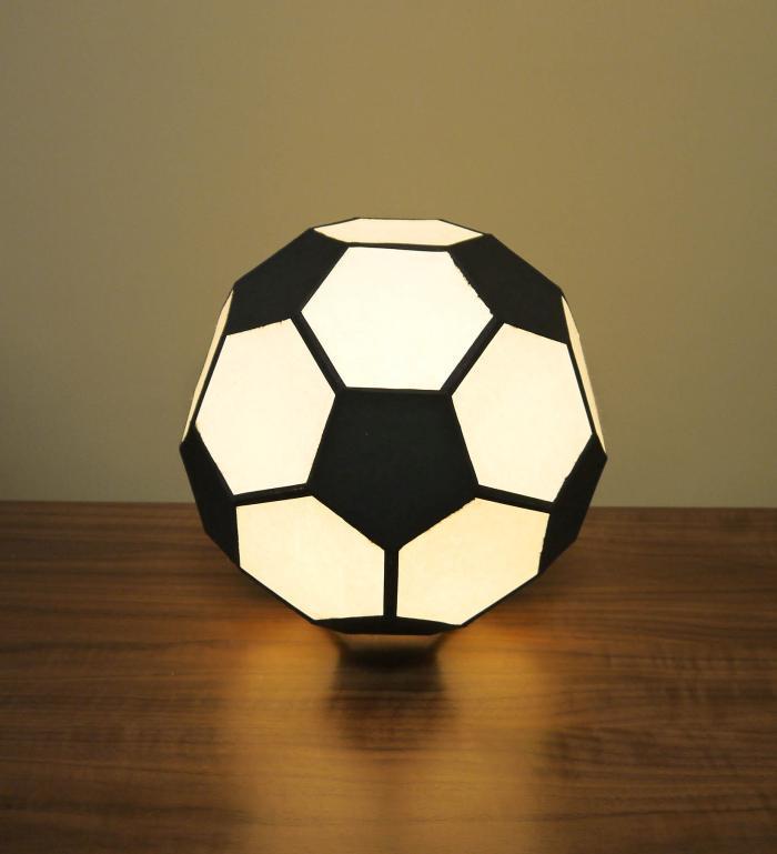 AMIO-221 多面体行灯「舞」(置) サッカーボールランプ 手漉き楮和紙 32面体