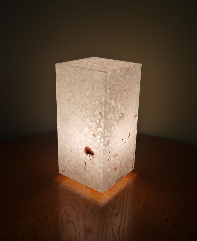 AAM-072 アクリル行灯 Mサイズ 阿波和紙 桜花弁入り落水紙 LED電球