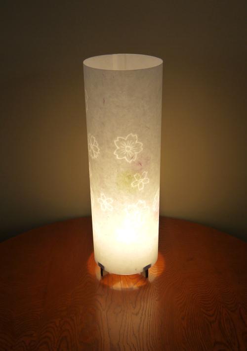 MAL-612 丸行灯(筒型) Lサイズ 名尾和紙使用 楮 桜透かし模様