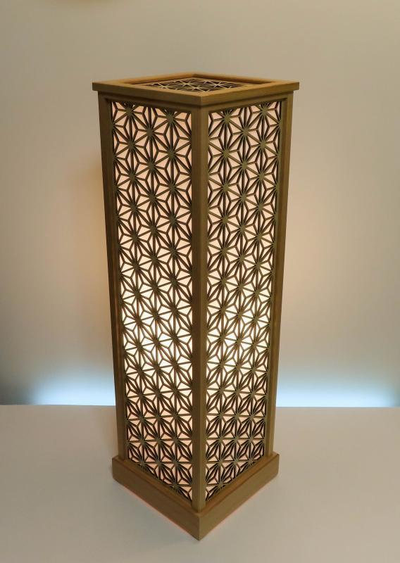 LAD-1861 レーザー行灯「趣」 LLサイズ 麻の葉組子模様 楮和紙貼り LED電球
