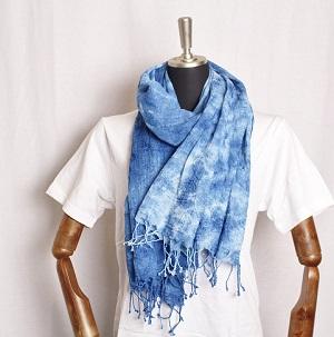 藍染め ストール 刺繍 グラデーション ムラ染め 母の日 贈り物 ギフト