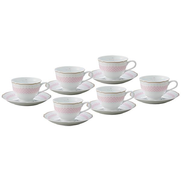 ノリタケ食器【DAISYBELL】デイジーベル ティー・コーヒー碗皿セット(ピンク)(6客)