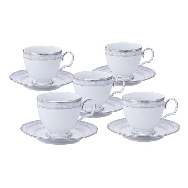 ノリタケ 食器 ハンプシャープラチナ ティー・コーヒー碗皿5客セット
