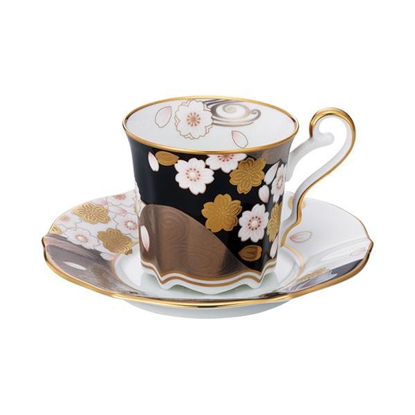 ノリタケ食器 あやみなも コーヒー碗皿(夜桜金銀彩)