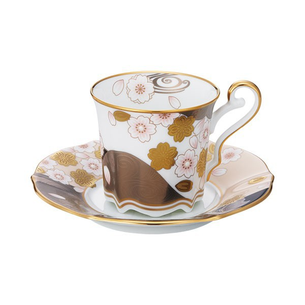 ノリタケ食器 あやみなも コーヒー碗皿(桜金銀彩)