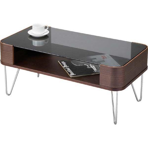 【送料無料】ルーマス コーヒーテーブルS /ディスプレイ棚付きセンターテーブル、ガラステーブル