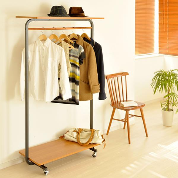ハンガーラック『Shuqule(シュクレ)』幅90cm 収納力とデザイン性の高さが魅力の ハンガーラック シンプル 木目柄は、ライトブラウンとダークブラウンの2カラーをご用意しました。ハンガーラック 快適衣類整理[代引不可]