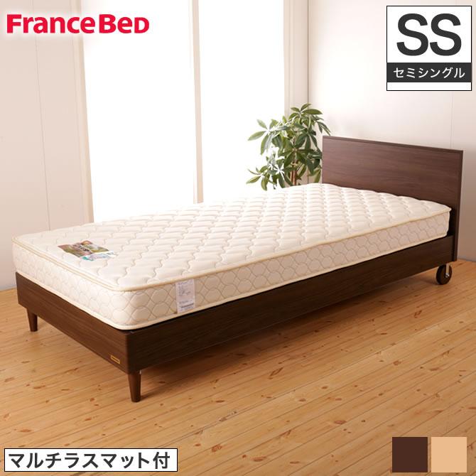 フランスベッド パネル型ベッド ピスコ21F セミシングル 木製キャスター付 マルチラスマットレス付 XA-241 コンパクトベッド 脚付 フラットタイプ ヘッドボード 日本製 francebed 木製ベッド マットレスセット