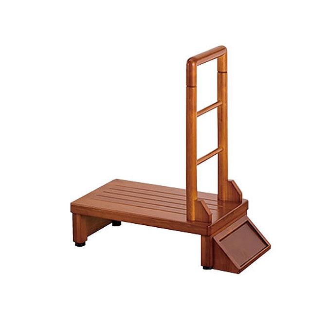 玄関台 幅60cm 玄関収納 手すり付き 滑り止め 天然木 ナチュラル