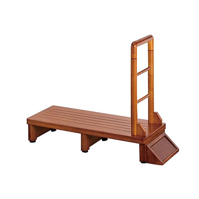 玄関台 幅90cm 玄関収納 手すり付き 滑り止め 天然木 ナチュラル
