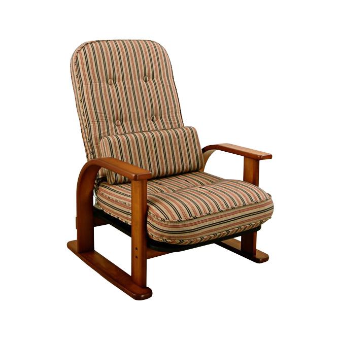座椅子 【送料無料】日本製 肘掛け高座椅子ロータイプ 背もたれ4段階リクライニング 簡単角度調整 座面ふっくら腰を守ります 布張り座いす 腰当てクッション1個付 肘付き高座椅子と腰当クッションのセットとなります。 パーソナルチェア オットマンは別売り 一人掛け 1人掛け
