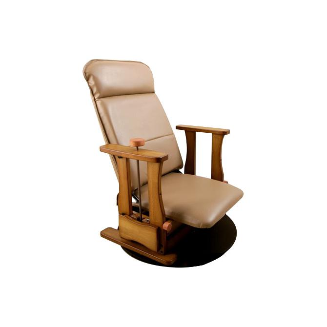 日本製木製座椅子 ロータイプDX 座面回転 肘掛け付 立上りサポート座面下にバネの力 脚、腰、膝の負担軽減 起立補助椅子 体重45-65kgの方に 背部4段階リクライニング 座いす 座イス 肘付き リフトアップチェア 昇降椅子 立ち上がりや座る時の負担を軽減 送料無料