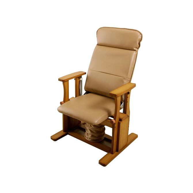 \ポイント10倍★8/15・16限定★/ 座椅子 日本製 木製高座椅子 肘掛け付 ハイタイプDX 立上りサポート座面下にバネの力 脚、腰、膝に優しい 起立補助椅子 体重45-75kgの方に 背部4段階リクライニング 座いす 座イス 肘付き