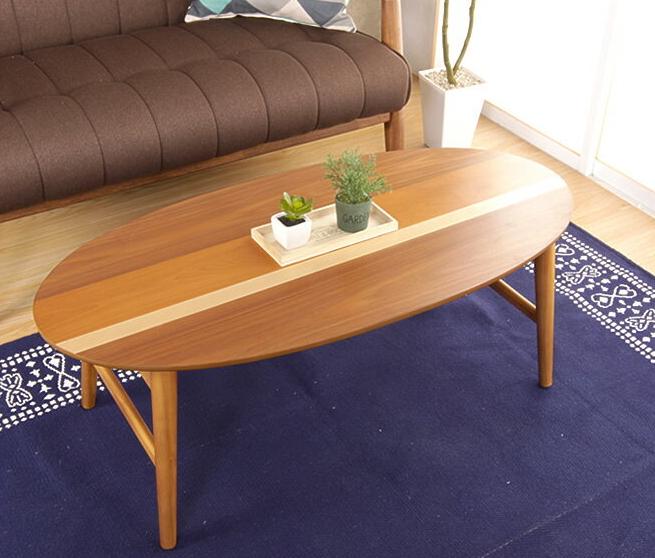 テーブル カジュアル センターテーブル 幅100cm 折りたたみ 木製 天然木 ローテーブル リビングテーブル ウォールナット オーバル型 マロン