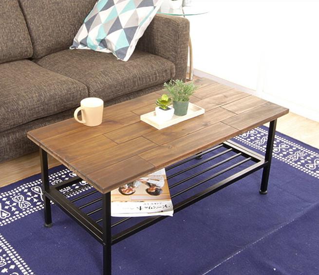 センターテーブル テーブル おしゃれ ヴィンテージ パイン材 高さ調節 棚付き シンプル ブラウン