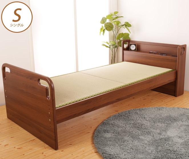 畳ベッド シングル 立ち上がりが楽な畳ベッド 木製 床面高さ5段階調節 棚付 電気コンセント付 天然い草 たたみマット すのこベッド フレームのみ 桐スノコ 持ち手 ベッド下収納