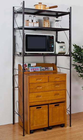 キッチンラック 幅伸縮式 エレガントキッチンラック 3段 ブラウン 幅調整可能 キッチン収納 レンジ台 隙間収納 ストッカー 省スペース 調節