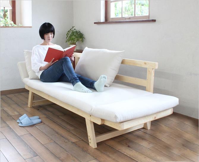 ソファベッド シングル ソファベッド マット クッション2個セット 木脚 ベージュ/グリーン/ブラウン