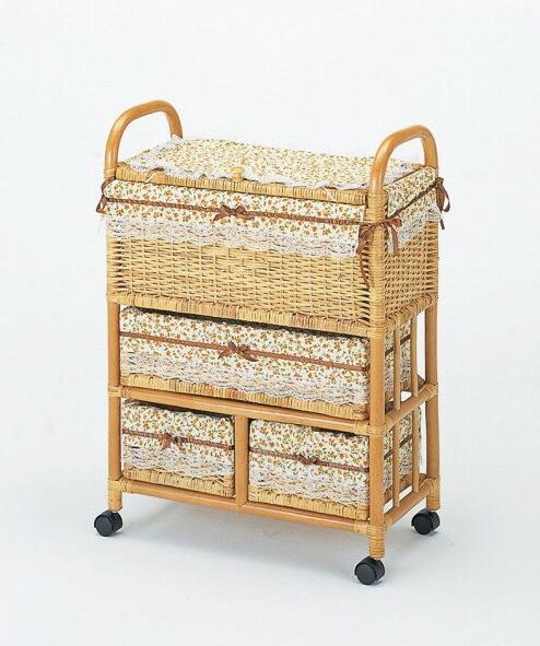 タオルから小物までたっぷり収納できて、見た目もすっきり 籐ランドリー 収納家具 ランドリーチェスト ランドリーラック 籐製 ラタン 送料無料