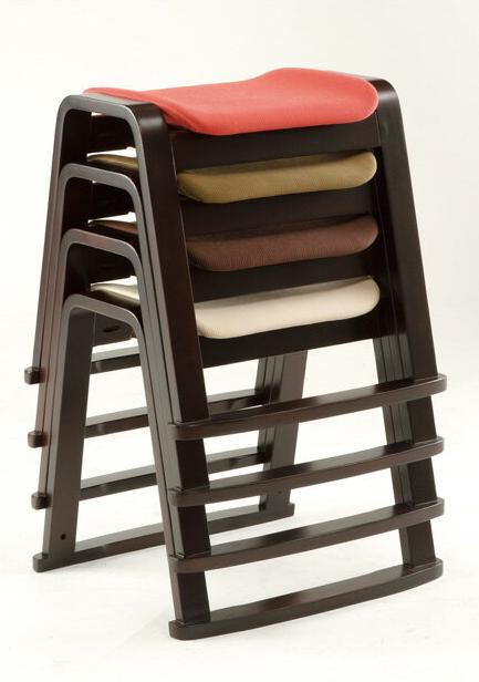 スタッキングチェア背もたれなし 重ねられるスツール4脚セット 【送料無料】 ブラウン木脚 レッド グリーン ベージュ スタッキングチェア スタッキングチェアー 北欧 シンプル モダン 椅子 いす イス おしゃれ チェア チェアー 積み重ね