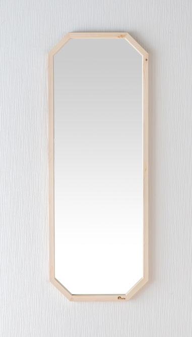 鏡 天然木 壁掛けミラー 八角たて長ミラー 幅約33.5cm 高さ約90cm Foresta フォレスタ 姿見 レッドパイン 木製フレーム ウォールミラー 赤松