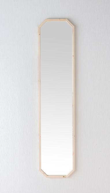 鏡 天然木 壁掛けミラー 八角たて長ミラー 幅約33.5cm 高さ約148cm Foresta フォレスタ 姿見 レッドパイン 木製フレーム ウォールミラー 赤松