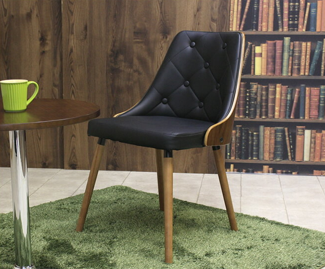 大人カジュアルなカフェスタイルチェア 天然木製 レザー調 おしゃれ モダンデザイン レトロモダン ウォールナット コーヒーチェア カジュアルチェア デスクチェア キッチンチェア 食卓椅子 デスク椅子 ダイニング椅子 大人インテリア モダンインテリア モダン家具