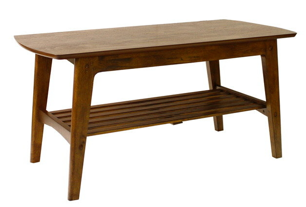 センターテーブル 幅105cm 木製 天板 ウォールナット 突板 北欧 テーブル ローテーブル 脚 天然木 リビングテーブル 座卓 天板下に棚があり本や雑誌が置けます。[送料無料][代引不可]