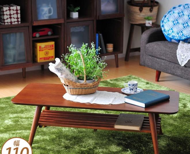 センターテーブル 棚付 ダークブラウン 幅110cm 脚折りたたみ可 リビングテーブル スクエア 長方形 ローテーブル 木製 小物収納