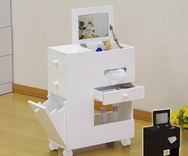 メイクボックス 便利なコスメボックス キャスター付 鏡台 アンティーク ホワイト メイクボックス コスメボックス 鏡付き ミラー デスクドレッサー ティッシュボックス ホワイト ブラウン