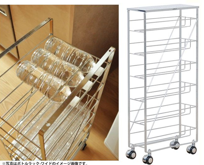 18-8ステンレス ボトルラック スリム DS09 frames&sons ボトルストッカー キッチンストッカー キャスター付き ステンレスラック 隙間収納 すきま収納